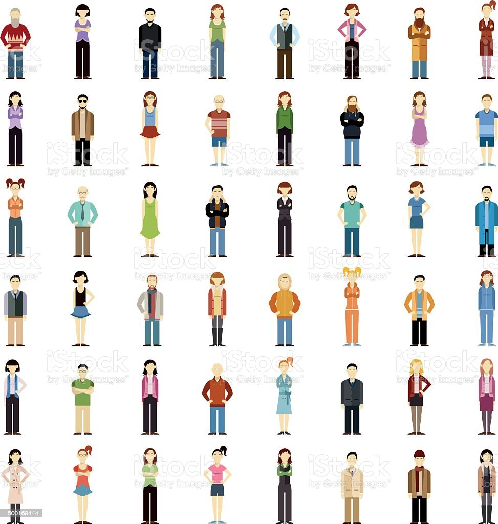 Set of people flat icons vector art illustration