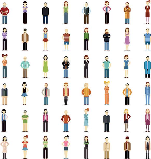 Set of people flat icons vector art illustration