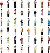 Set of people flat icons