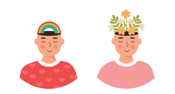 Set of people. Flowers and rainbow in head. Positive thinking, self care, spiritual healthy slow life. Falling in love. Meditation, mindfulness. Hippie. Gay. Mental health concept. Vector illustration