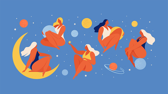 Set of people flying in space vector flat illustration. Collection of wom n holding planet with dream universe. Concept in flat graphic. Vector Illustration.