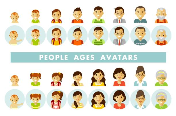 Set of people generations avatars at different ages Man and woman aging icons - baby, child, teenager, young, adult, old. Vector illustration in flat style isolated on white background. baby human age stock illustrations