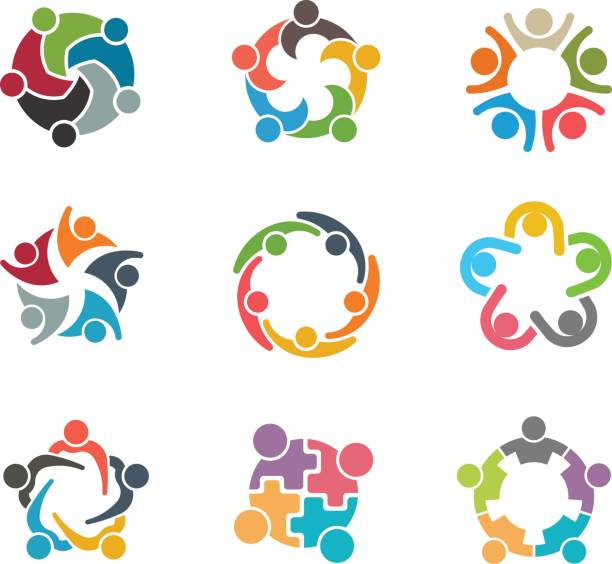 set of people group families - team stock illustrations, clip art, cartoons, & icons
