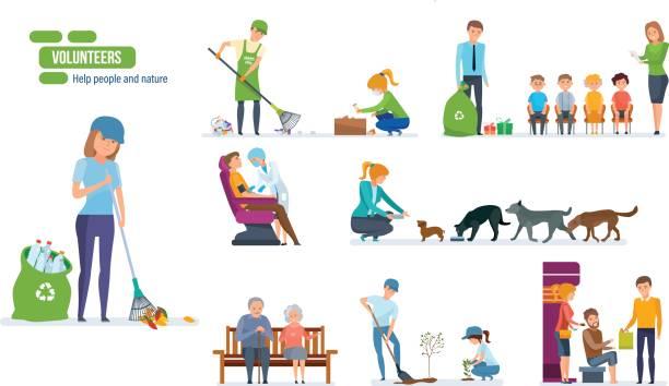 satz von menschen helfen ältere menschen, tiere, pflanzen und reinigung stadt - arbeitshunde stock-grafiken, -clipart, -cartoons und -symbole