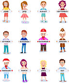 Set of people holding months names in hands. June July August September October November December January February March April May. Males and Famales in seasona cloth. Vector illlustration