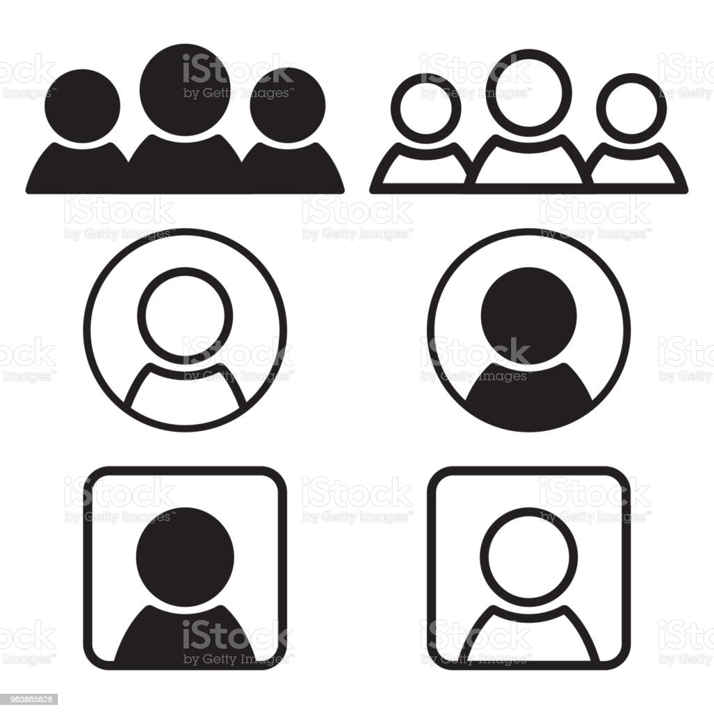 Set of people icons. Black flat and outline design. Vector illustration - Royalty-free Adult stock vector