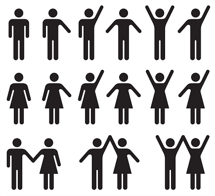 Set of people icons in black and white – man and woman.