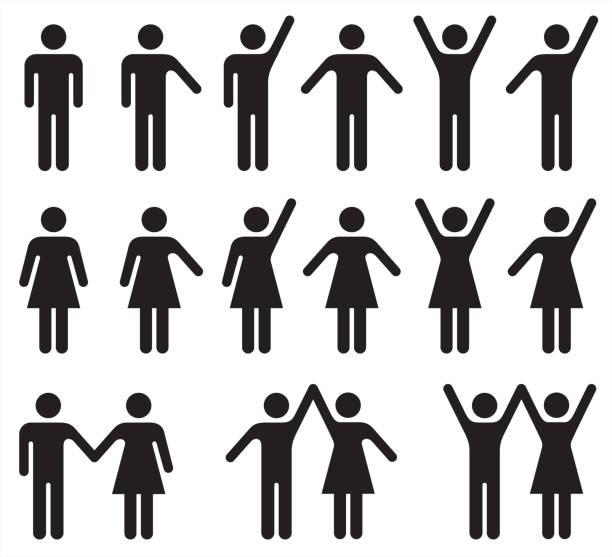 흑인과 백인 사람 아이콘의 집합 – 남자와 여자. - 사람들 stock illustrations