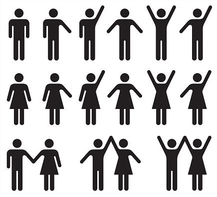 흑인과 백인 사람 아이콘의 집합 남자와 여자 가족에 대한 스톡 벡터 아트 및 기타 이미지