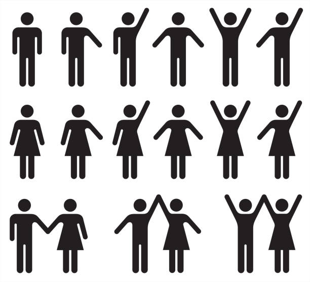 Set of people icons in black and white – man and woman. Vector illustration of stylized people. person icon stock illustrations