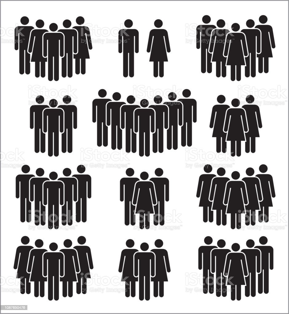 Set of people icons in black and white. royalty-free set of people icons in black and white stock illustration - download image now