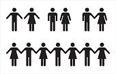 Set of people icons in black – man and woman.