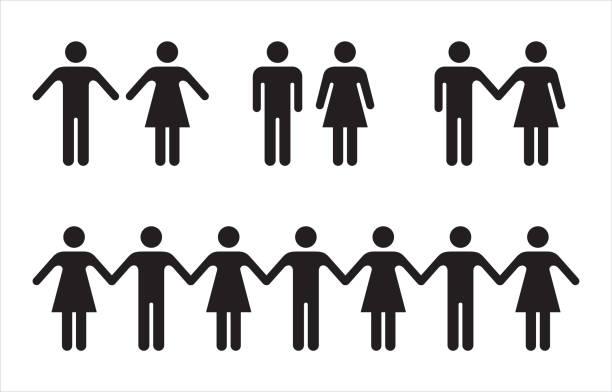 一套黑色的人的圖示-男人和女人。 - 女性 幅插畫檔、美工圖案、卡通及圖標
