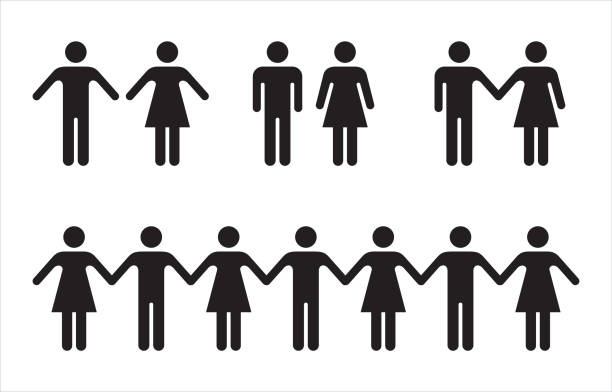 set of people icons in black – man and woman. - people stock illustrations