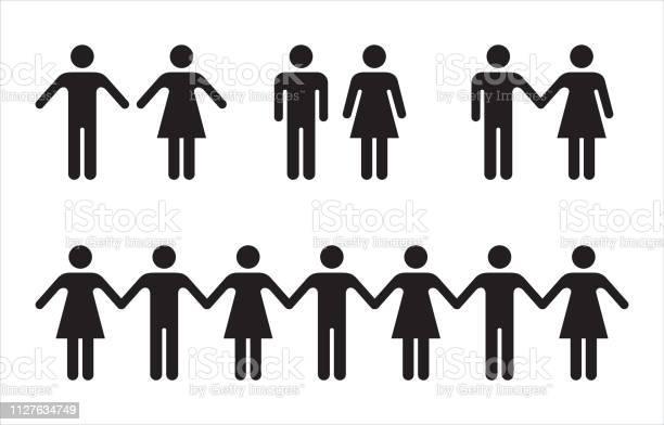 Satz Von Menschen Symbole In Schwarz Mann Und Frau Stock Vektor Art und mehr Bilder von Bildart