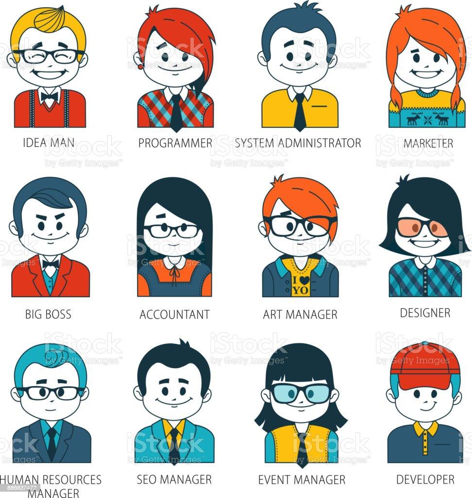 Conjunto de iconos de gente con caras planas estilo. Vectores de mujeres, hombres de carácter colección de profesiones en compañía - ilustración de arte vectorial