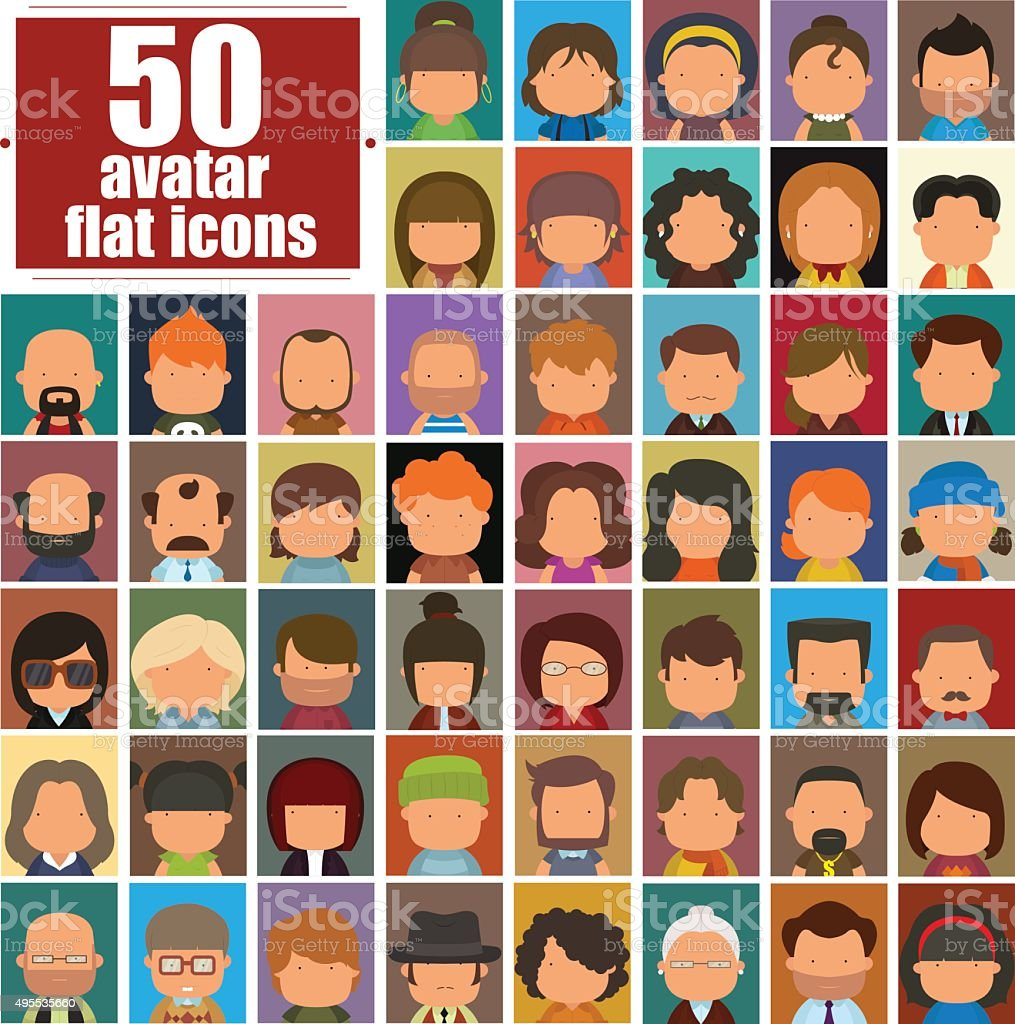 Set of people icons vector art illustration