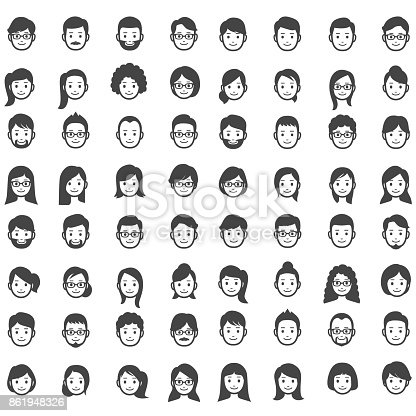 64 people faces icons.
