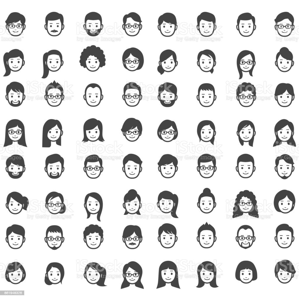 Set of people icons - illustrazione arte vettoriale