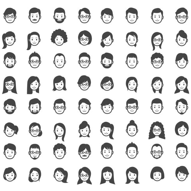 set of people icons - female faces stock illustrations, clip art, cartoons, & icons
