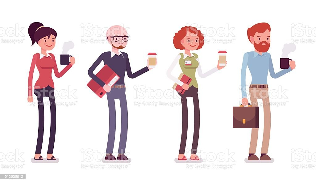 Set of people in casual wear with coffee, folder, bag - ilustración de arte vectorial
