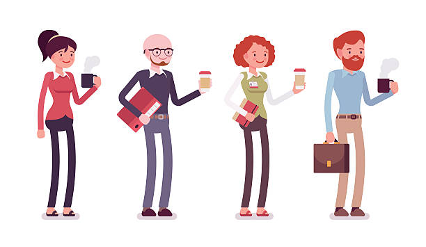 Set of people in casual wear with coffee, folder, bag – Vektorgrafik