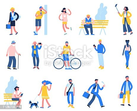 Male and female characters in flat style isolated on white background. Outdoor activity.