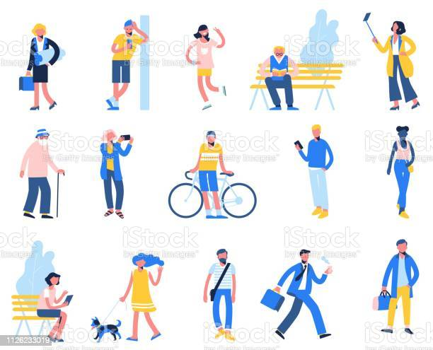 Set of people in different situations walk use smartphone ride bike vector id1126233019?b=1&k=6&m=1126233019&s=612x612&h=7aohfmg8j2vwfnrkdfgprzg6dw4osn57cf1xetgcs e=