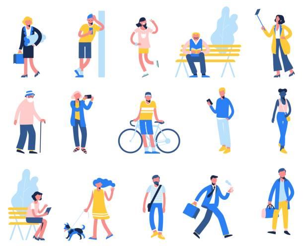 bildbanksillustrationer, clip art samt tecknat material och ikoner med uppsättning av människor i olika situationer - promenad, använd smartphone, rida cykel, koppla av. - senior walking