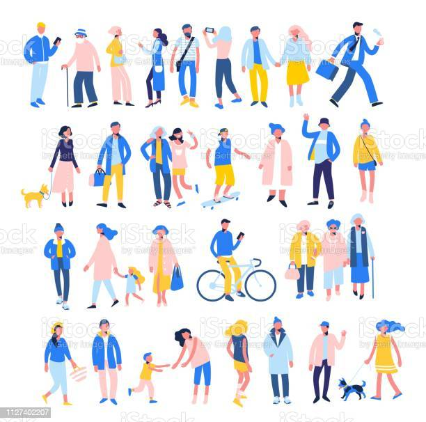 Set of people in different situations walk use smartphone ride bike vector id1127402207?b=1&k=6&m=1127402207&s=612x612&h=ueitoo2bmv 4v3 mgxbgiuhuxdivuad7frvt yxcuhk=