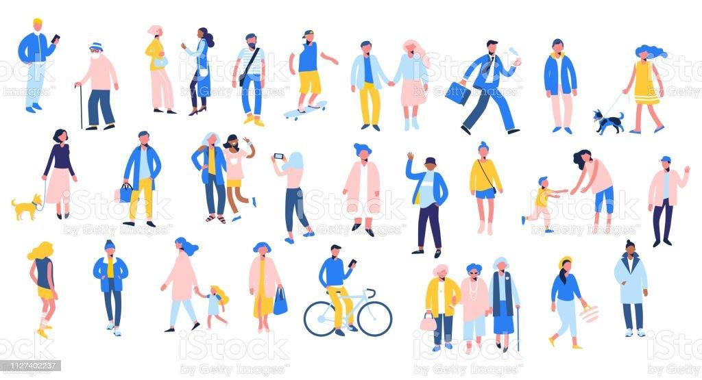 さまざまな状況 - 散歩、使用スマート フォンで人々 のセットは自転車に乗る、リラックスします。 - アイコンセットのロイヤリティフリーベクトルアート