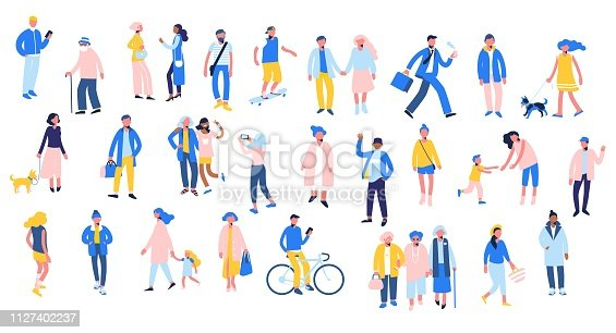 Group of male and female characters in flat style isolated on white background. Outdoor activity.