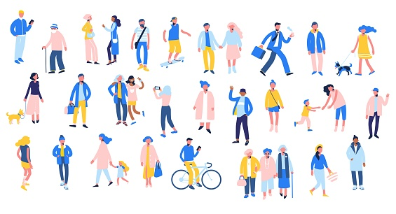 Set of people in different situations - walk, use smartphone, ride bike, relax.