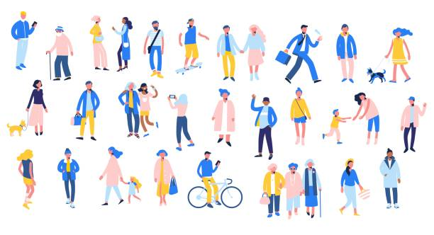 set of people in different situations - walk, use smartphone, ride bike, relax. - people stock illustrations