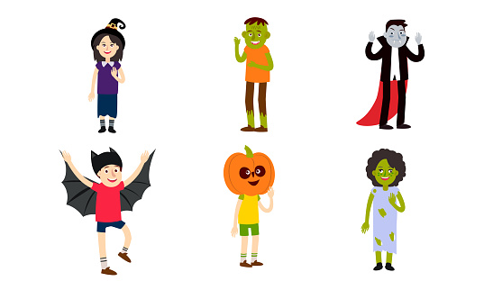 Set of people in different spooky Halloween costumes