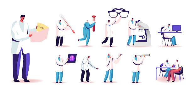 Set of People in Doctor Uniform with Medic Tools and Medicine. Tiny Male and Female Characters Holding Huge Glasses