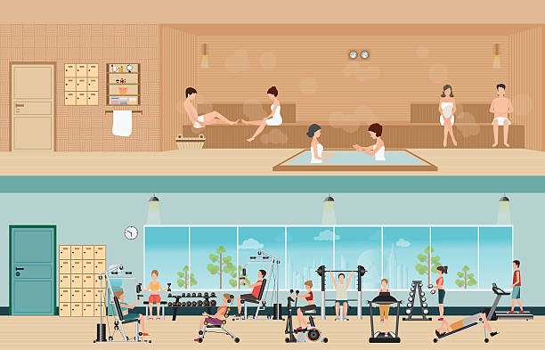set of people in fitness gym interior and sauna interior . - sauna stock-grafiken, -clipart, -cartoons und -symbole