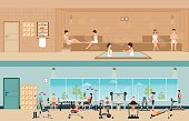 Set of people in fitness gym interior and sauna interior .