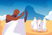 set of people in hajj pilgrimage vector illustration design