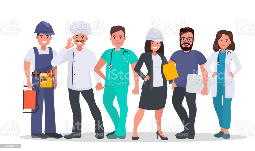 Set of people of different occupations vector art illustration
