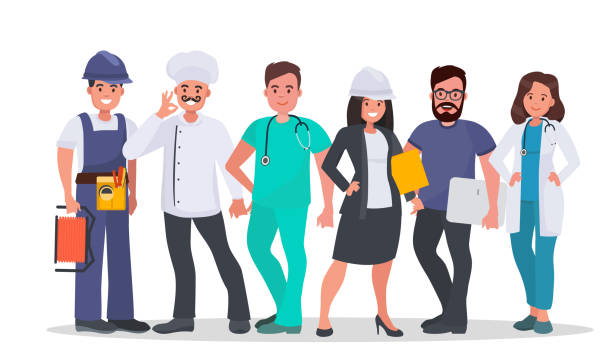 set of people of different occupations - zawód stock illustrations