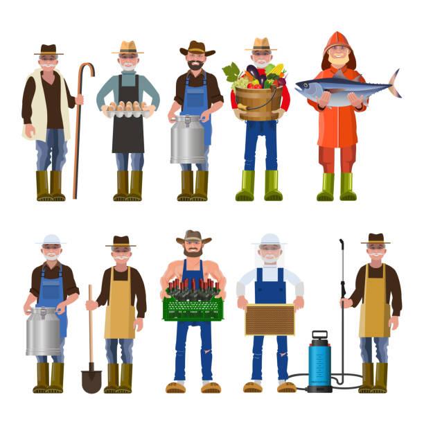 さまざまな職業の人々 のセット - 漁師点のイラスト素材/クリップアート素材/マンガ素材/アイコン素材