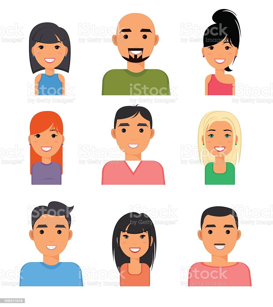 Set of people portrait face icons. royalty-free set of people portrait face icons stock vector art & more images of adult