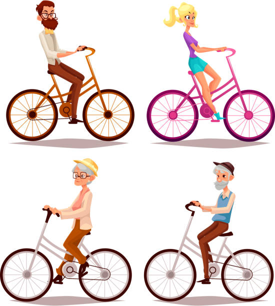 set of people ride a bicycle - old man on bike stock illustrations, clip art, cartoons, & icons