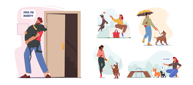 Set of People Spend Time with Pets at Home and Outdoors. Characters Walking and Playing with Dogs, Relaxing Open Air