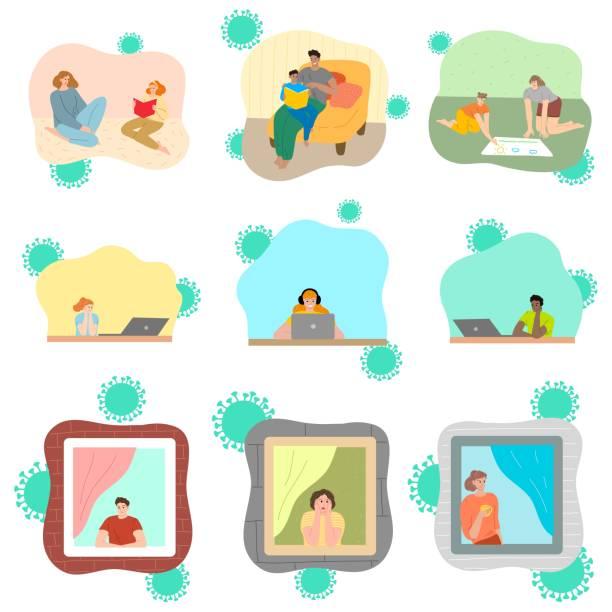 stockillustraties, clipart, cartoons en iconen met reeks mensen die thuis voor bescherming tegen coronavirusbesmetting tijdens pandemie blijven - avondklok