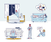 istock Set of people suffering from insomnia. Cartoon characters could not sleep at night 1257068653