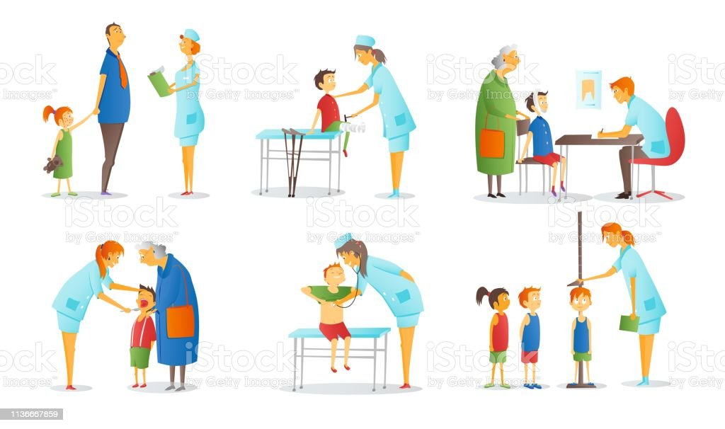 Set Of People Visiting Various Doctors Or Physicians