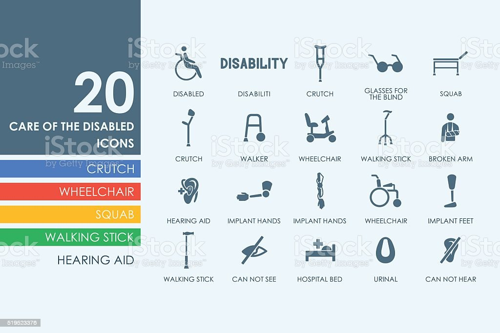 Set of people with disabilities icons vector art illustration