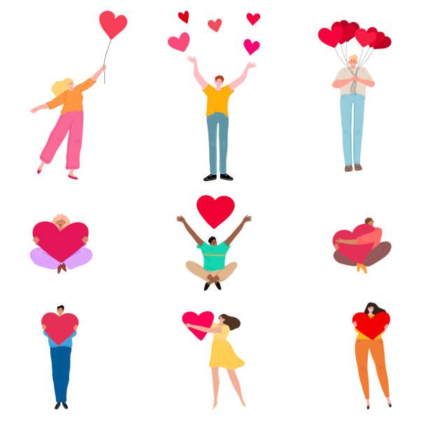 stockillustraties, clipart, cartoons en iconen met reeks mensen met harten die liefdevectorillustratie uitdrukken - flirten
